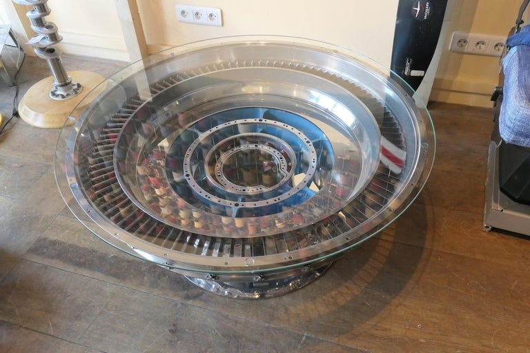 Coffee Table Genuine Part of a CFM-56 Aircraft Reactor For Sale 4