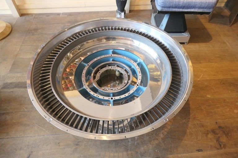 French Coffee Table Genuine Part of a CFM-56 Aircraft Reactor For Sale