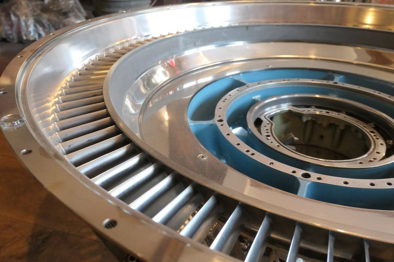 Aluminum Coffee Table Genuine Part of a CFM-56 Aircraft Reactor For Sale
