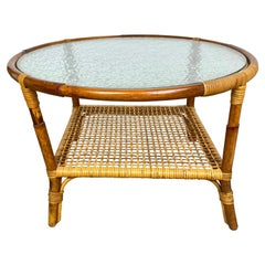 Coffee Table in Bamboo Rattan and Frosted Glass, Italy, 1960s