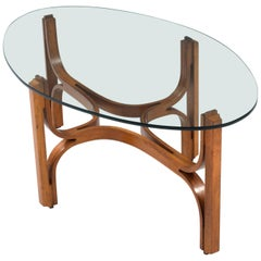 Coffee Table in bended Walnut and Glass, Italy, 1960s