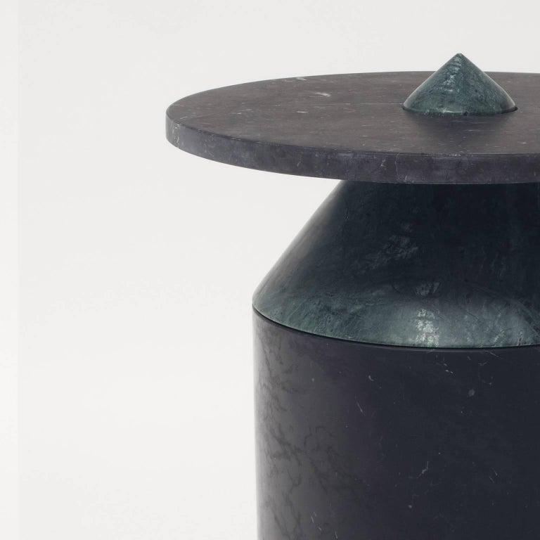 Italian Coffee Table in Black and Green Marble, by Chekerdjian, Numbered Ed. Italy Stock For Sale