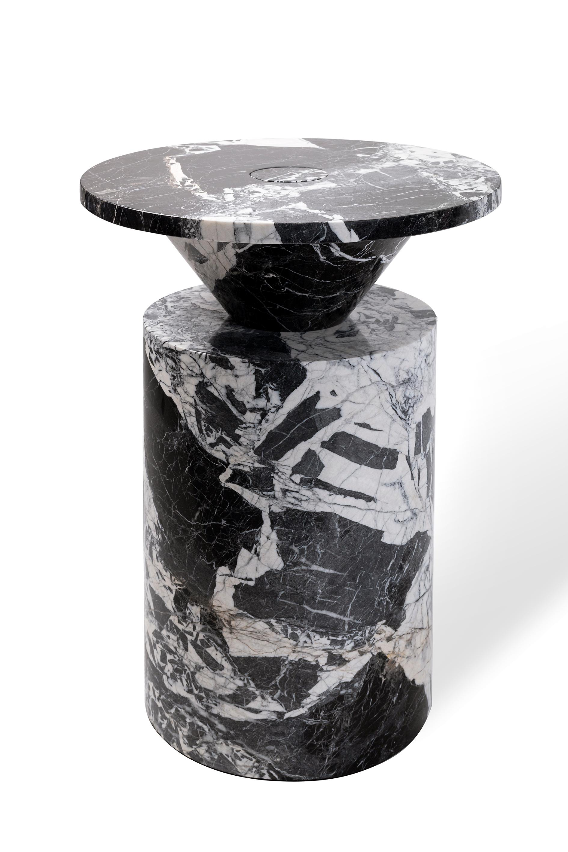 Coffee Table in Black Antique Marble, by Karen Chekerdjian, Numbered Edition
