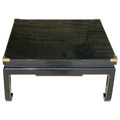 Coffee Table in Black Lacquered Wood, in the Style of Romeo Paris, France, 1970