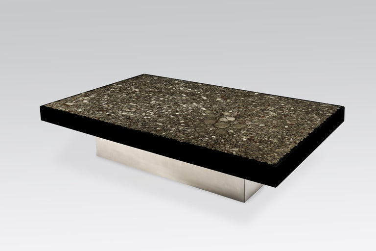 Jean Claude Dresse, coffee table, marcasite and steel, Belgium, 1970.   This unique coffee table by Dresse was owned by a Belgian private collection from Brussels. This example is custom-made and of a spectacular size (measuring 150cm) which is