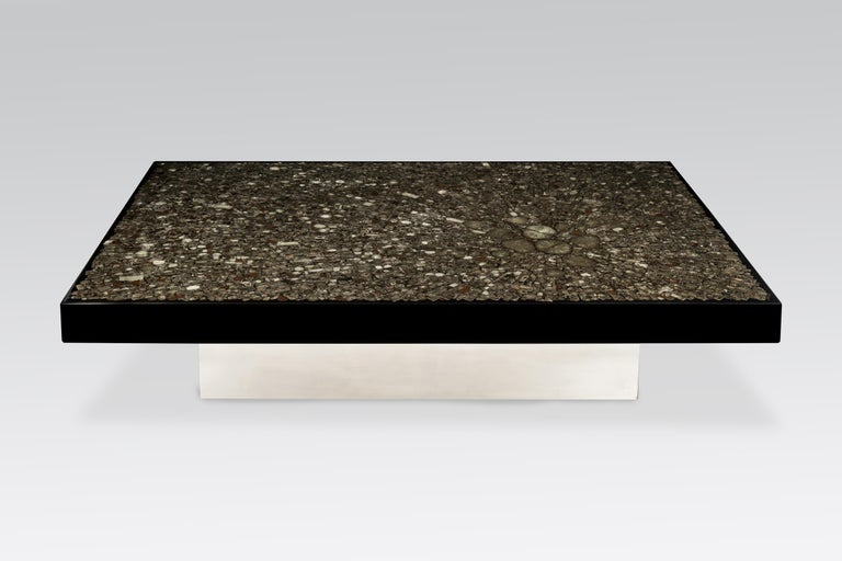 Mid-Century Modern Coffee Table in Black Resin and Marcassite by Jean Claude Dresse For Sale