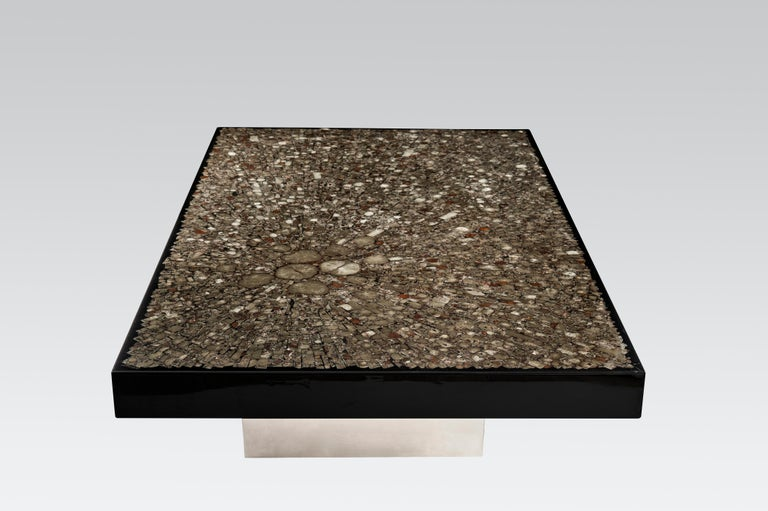 Belgian Coffee Table in Black Resin and Marcassite by Jean Claude Dresse For Sale