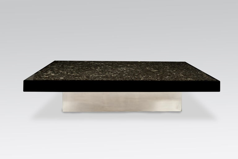 Coffee Table in Black Resin and Marcassite by Jean Claude Dresse For Sale 1