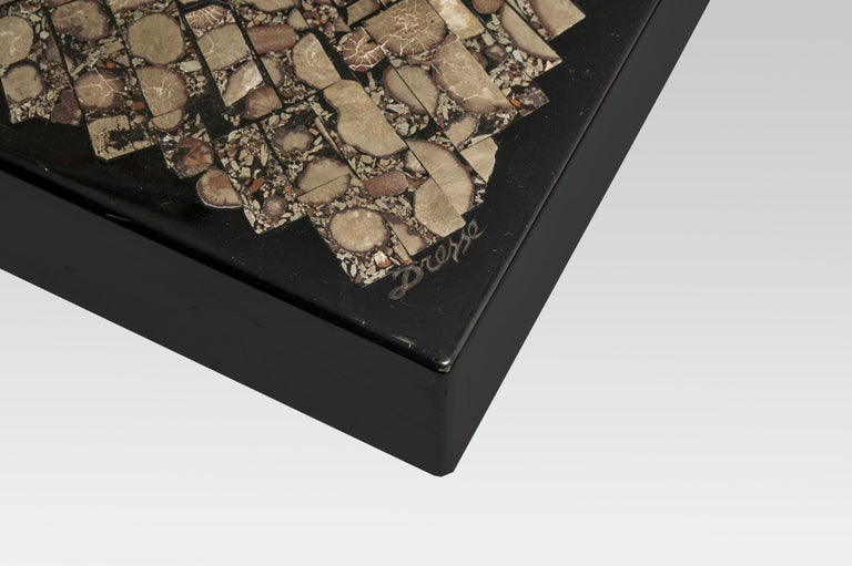 Coffee Table in Black Resin and Marcassite by Jean Claude Dresse For Sale 2