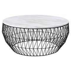 Coffee Table in Black with White Marble Top by Bend Goods