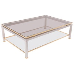 Coffee Table in Brass and Metal, France 1970, in the Style of Jean Charles