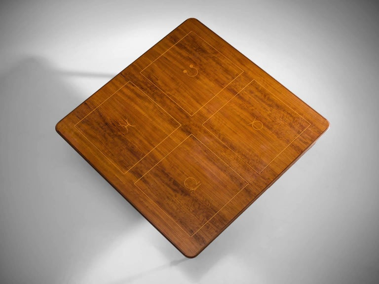 Coffee table, brass, rosewood, Europe, circa 1950.