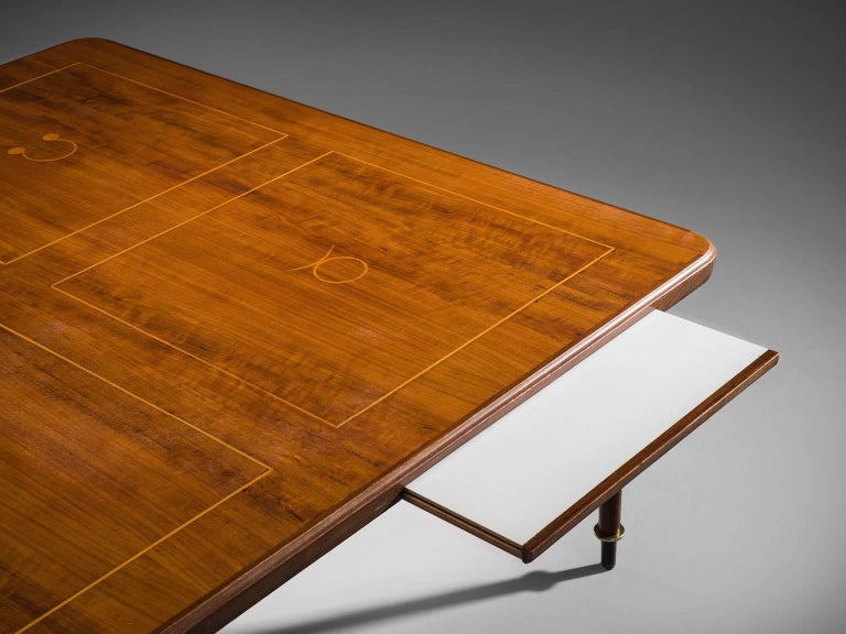 Mid-Century Modern Coffee Table in Brass and Rosewood  For Sale