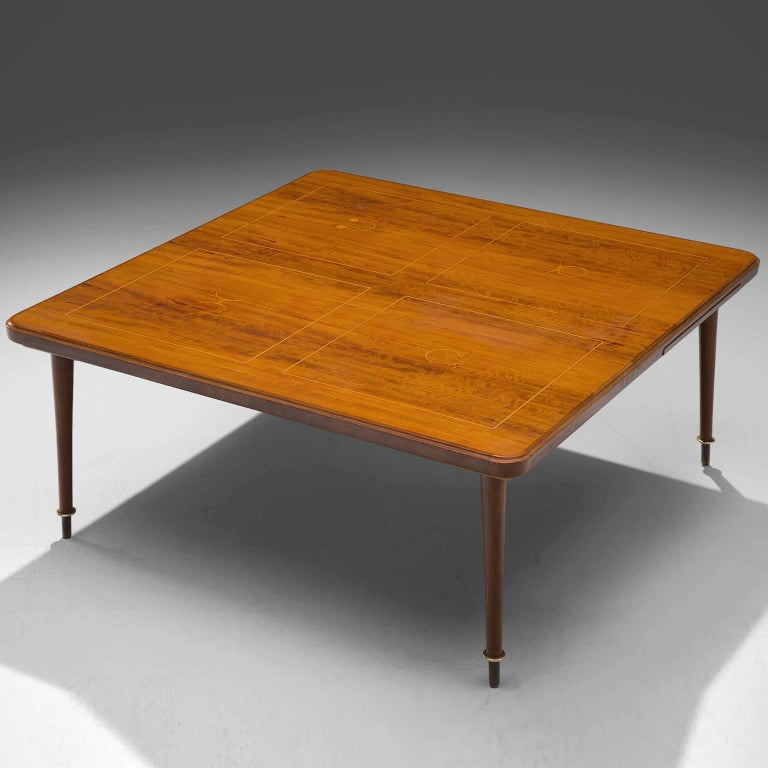 Mid-20th Century Coffee Table in Brass and Rosewood  For Sale