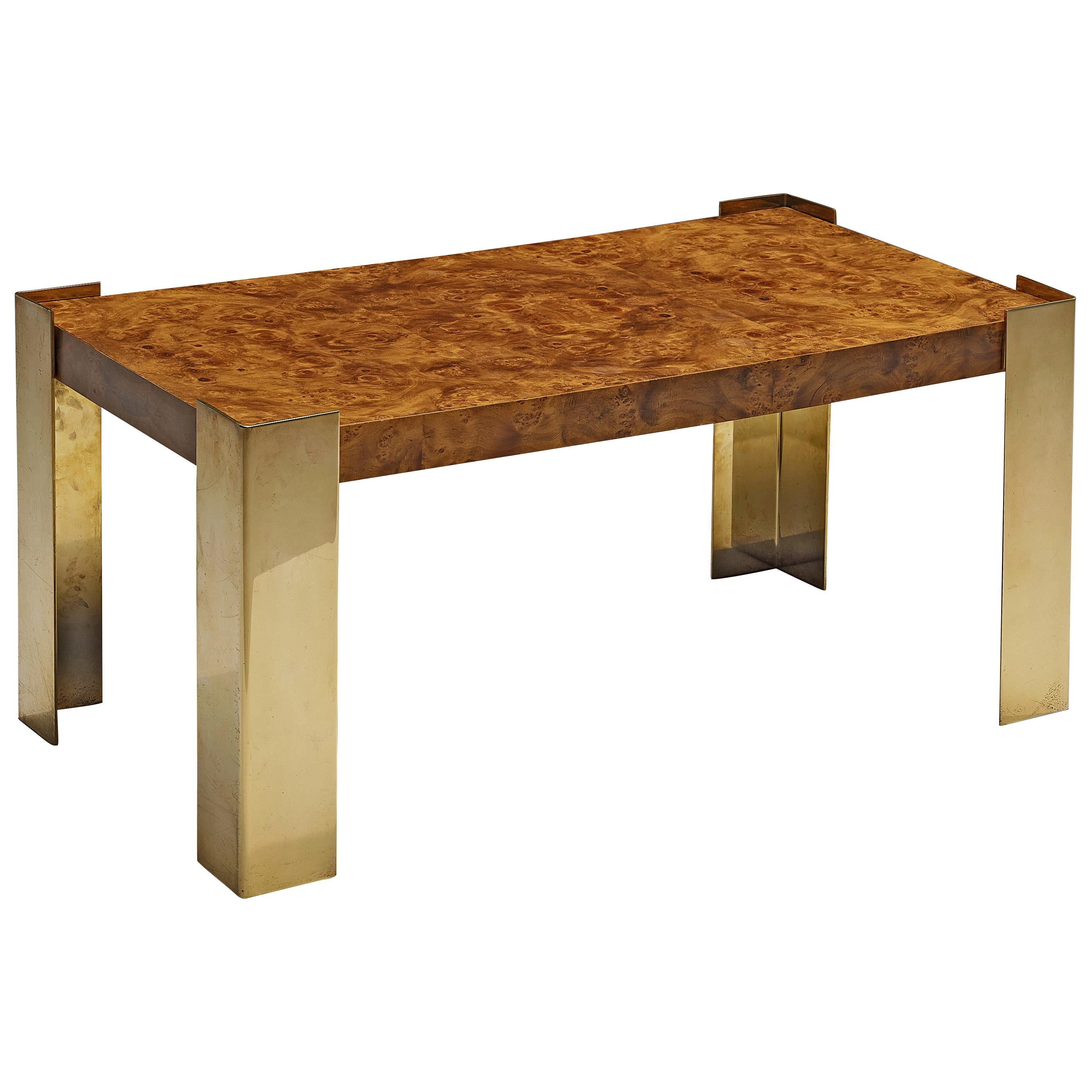 Coffee Table in Brass and Walnut Burl