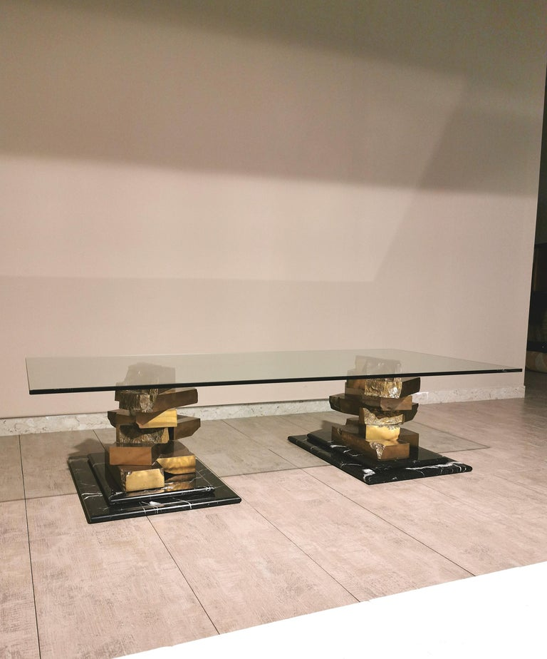 Coffee Table in Brass, Marquinia Marble and Glass Midcentury, 1970s-1980s 4