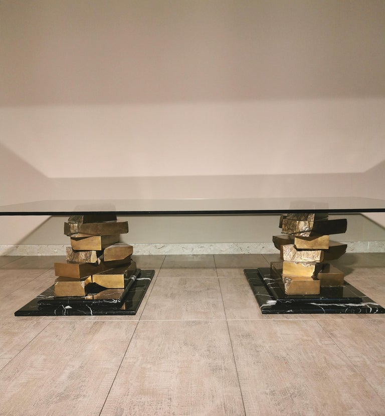 Coffee Table in Brass, Marquinia Marble and Glass Midcentury, 1970s-1980s 5
