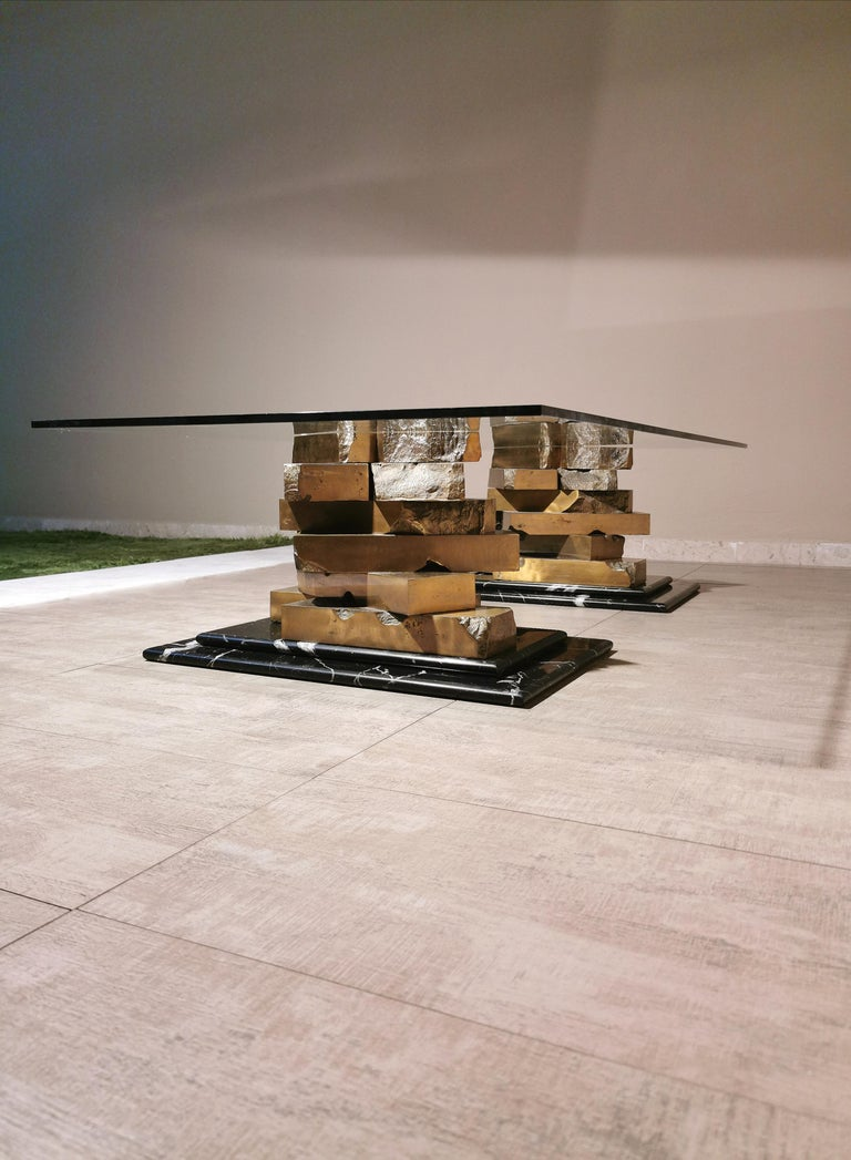 Coffee Table in Brass, Marquinia Marble and Glass Midcentury, 1970s-1980s 7
