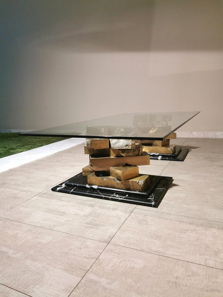 Coffee Table in Brass, Marquinia Marble and Glass Midcentury, 1970s-1980s 8