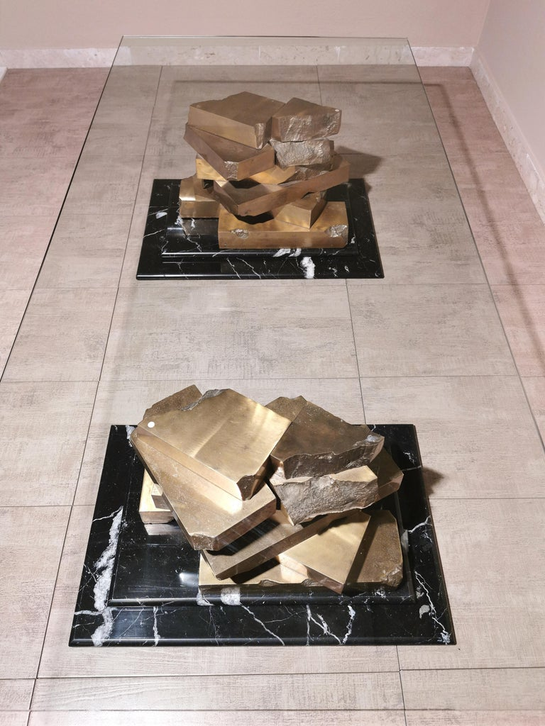 Coffee Table in Brass, Marquinia Marble and Glass Midcentury, 1970s-1980s 9