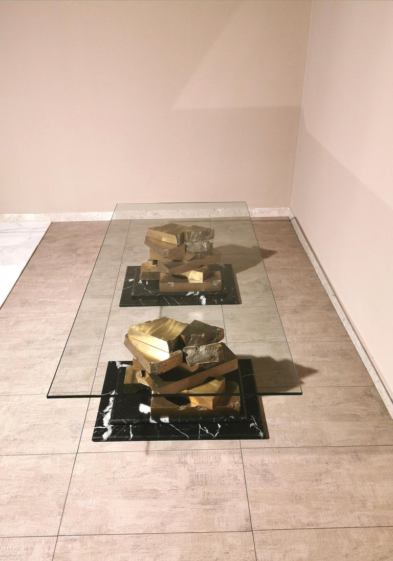 Coffee Table in Brass, Marquinia Marble and Glass Midcentury, 1970s-1980s 10