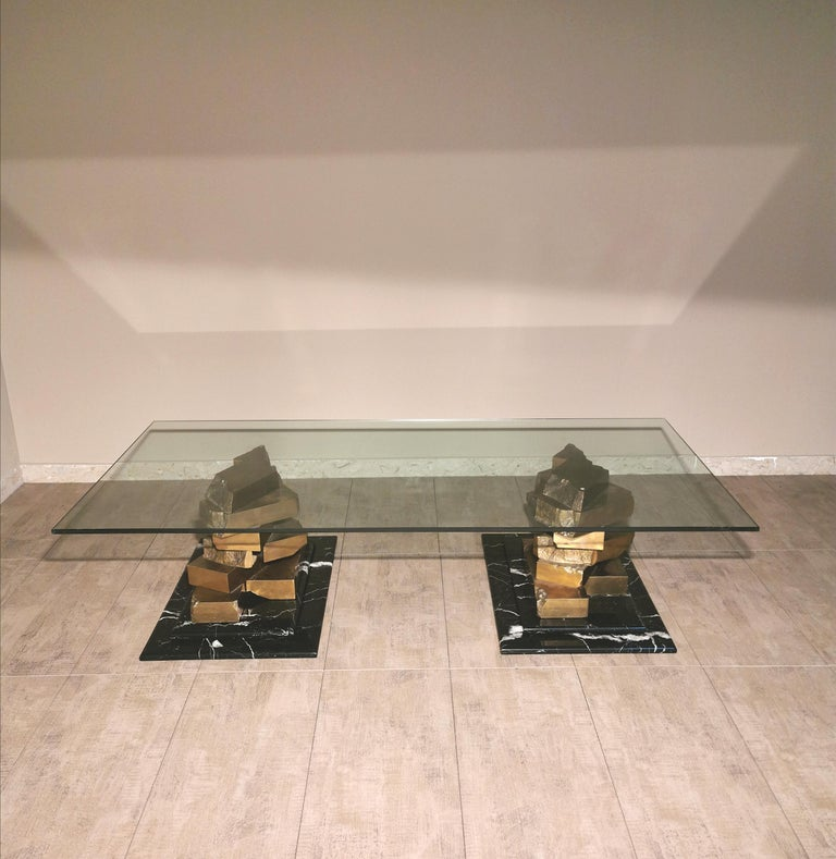 Coffee Table in Brass, Marquinia Marble and Glass Midcentury, 1970s-1980s 11