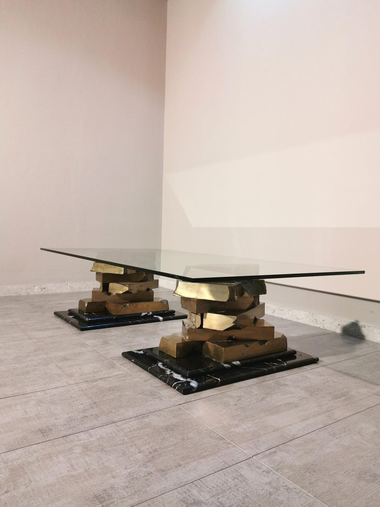 Coffee Table in Brass, Marquinia Marble and Glass Midcentury, 1970s-1980s 12