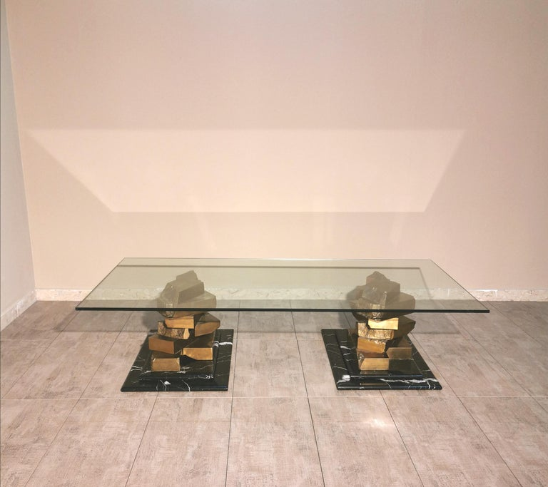 Coffee Table in Brass, Marquinia Marble and Glass Midcentury, 1970s-1980s 13