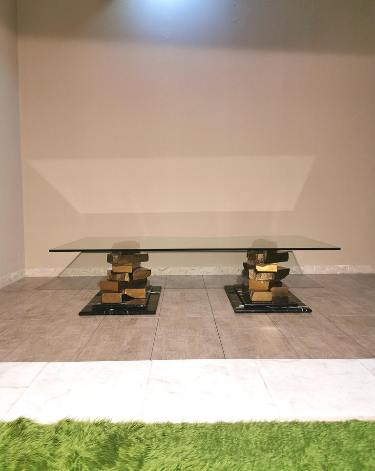 Coffee Table in Brass, Marquinia Marble and Glass Midcentury, 1970s-1980s 14