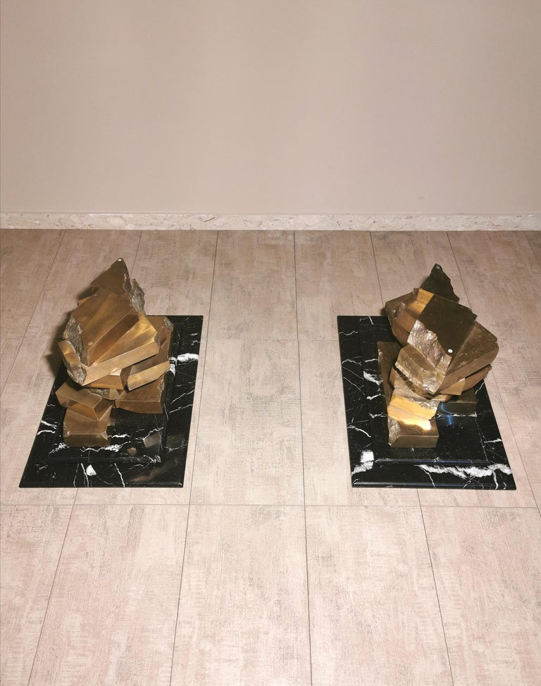 Coffee Table in Brass, Marquinia Marble and Glass Midcentury, 1970s-1980s 1