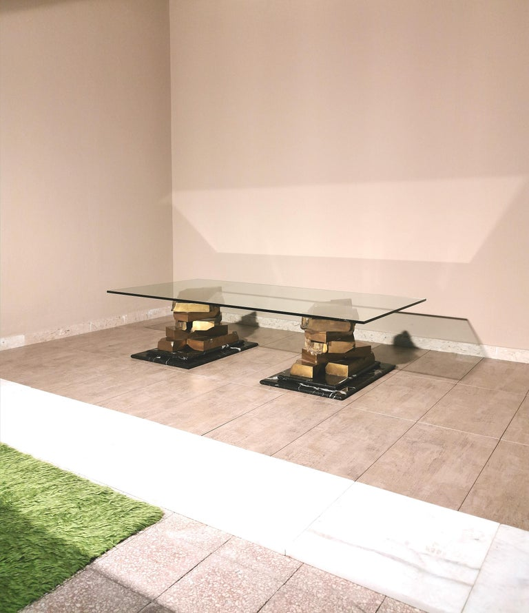 Coffee Table in Brass, Marquinia Marble and Glass Midcentury, 1970s-1980s 2