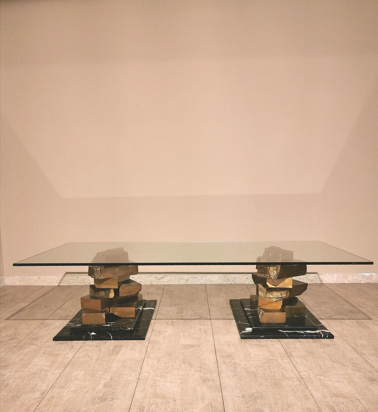 Coffee Table in Brass, Marquinia Marble and Glass Midcentury, 1970s-1980s 3