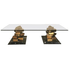 Coffee Table in Brass, Marquinia Marble and Glass Midcentury, 1970s-1980s