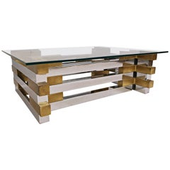 Coffee Table in Brass,chrome and Glass