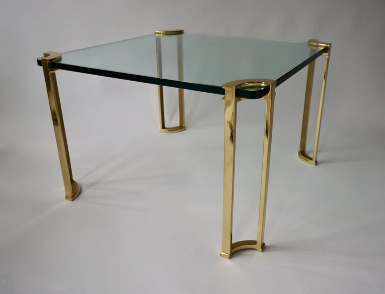 Mid-Century Modern Coffee Table in Bronze and Glass For Sale