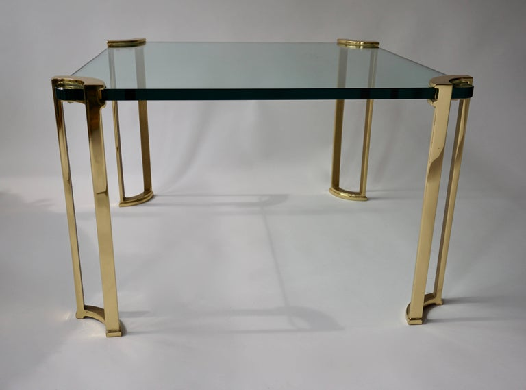 Italian Coffee Table in Bronze and Glass For Sale
