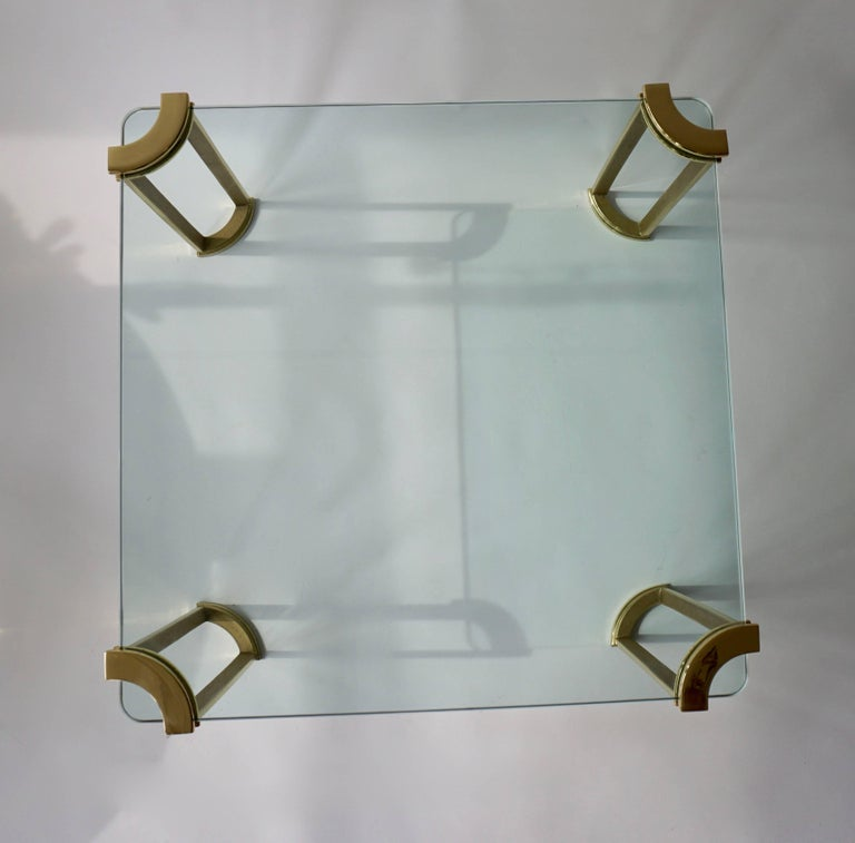 Brass Coffee Table in Bronze and Glass For Sale