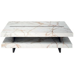 Coffee Table in Calacatta Gold Marble & Brass by Belingardi Clusoni, Italy Stock