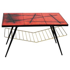 Coffee Table in Ceramic and Iron by Les Frêres Cloutier, France 1960, Red, Black