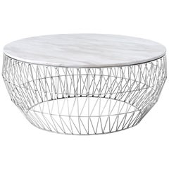Coffee Table in Chrome with White Marble Top by Bend Goods