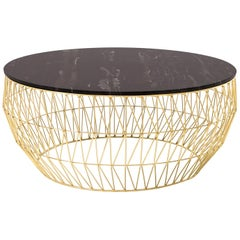 Coffee Table in Gold with Black Marble Top by Bend Goods