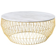 Coffee Table in Gold with White Marble Top by Bend Goods