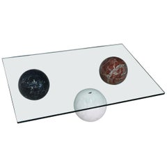 Coffee Table in Marble Globe White Black and Red by Cattelan Italia, 1990s