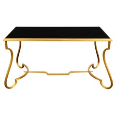 Coffee Table in Matte Gold Plated Brass and Inset Black Glass Top, 2001