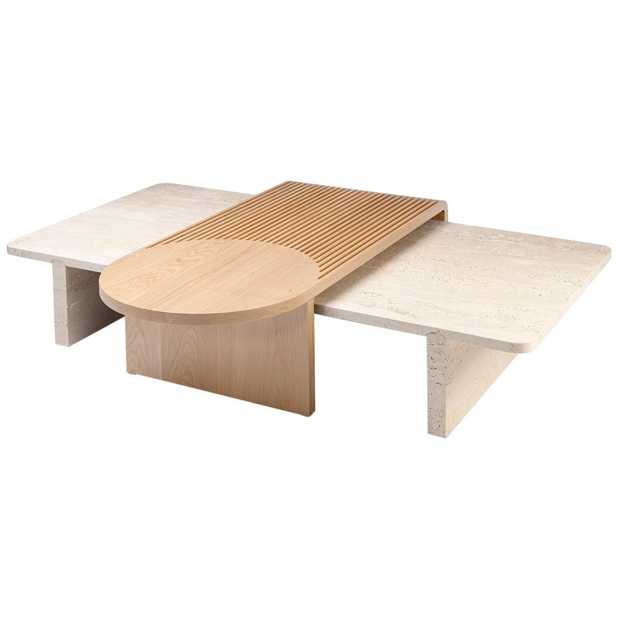 Coffee Table in Natural Travertine and Natural Oak Stick and Stone