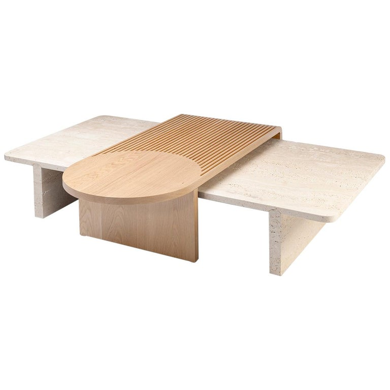 Natural Travertine and Oak Coffee Table, 2020, offered by dooq