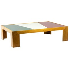 Coffee Table in Oak and Tray in Colored Glass, 1970's