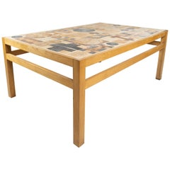 Coffee Table in Oak and with Different Tiles, Designed by Tue Poulsen, 1970s
