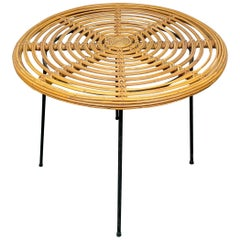 Coffee Table in Rattan Wicker and Iron, France, 1960s