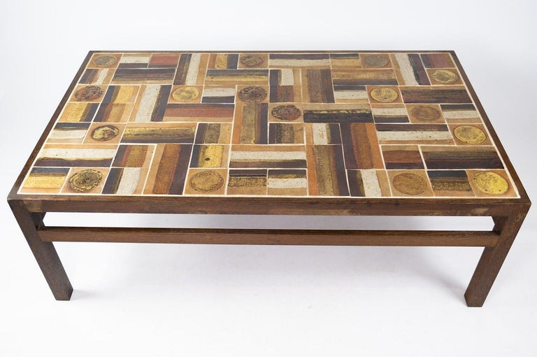Scandinavian Modern Coffee Table in Rosewood and Dark Tiles, Designed by Tue Poulsen from the 1970s For Sale